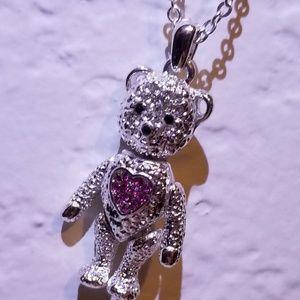 🆕️ Teddy Bear Princess Pink Pendant Necklace